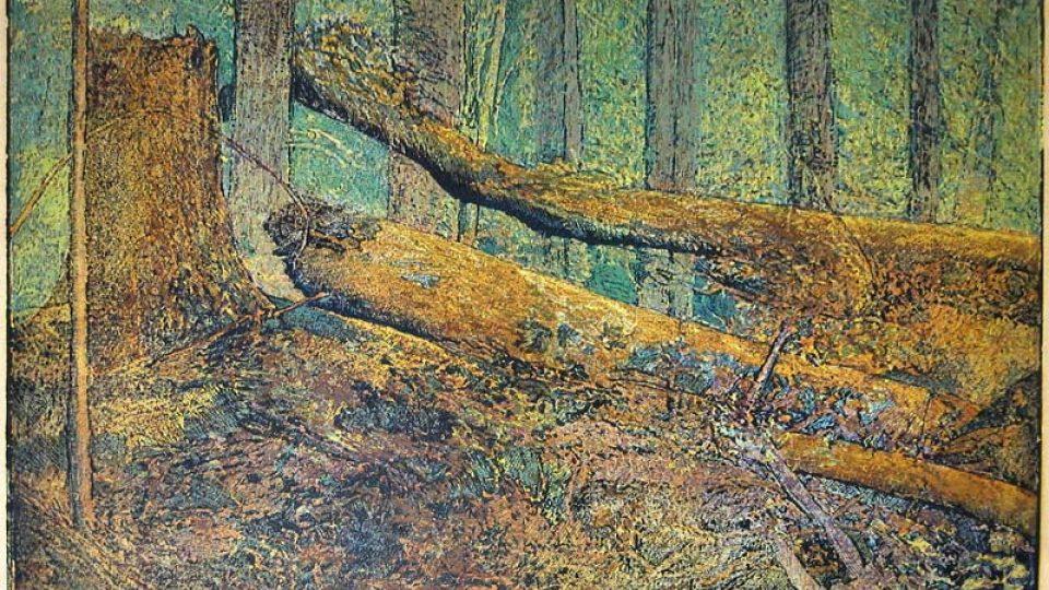 J. Váchal: Boubínský prales - dřevoryt
