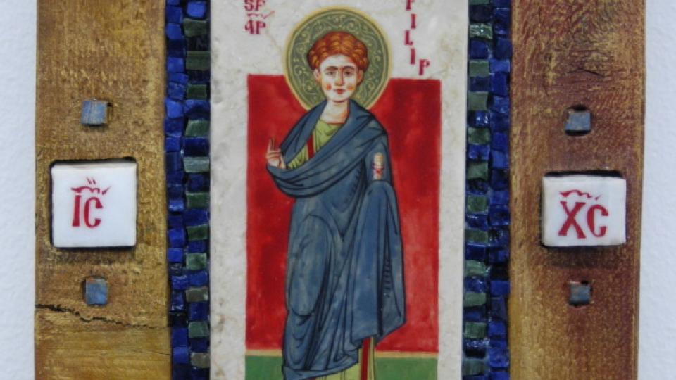 Sorin Efros: Svatý Filip (Ikona na dřevě s mramorovými interziemi)