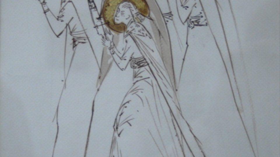 Elena Murariu: Svatí mučedníci Brancoveanové. Náboženská grafika. Tuš na papíře, zlatá fólie