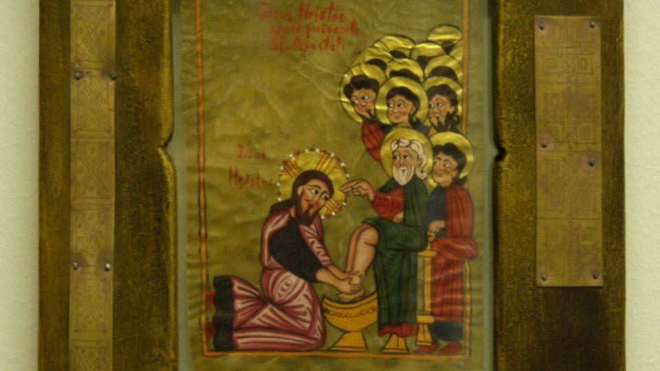 Otilia Efros: Mytí nohou. Ikona ze dřeva s malbou na pergamenu.
