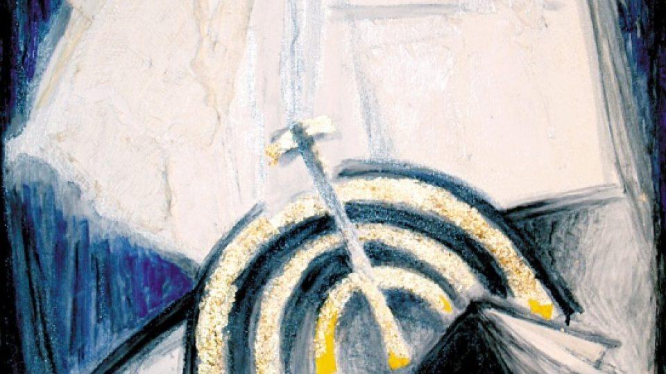 Helga Hošková-Weissová: Pogrom, 2009, kombinovaná technika, plátno, 900 × 600, LD: H 09