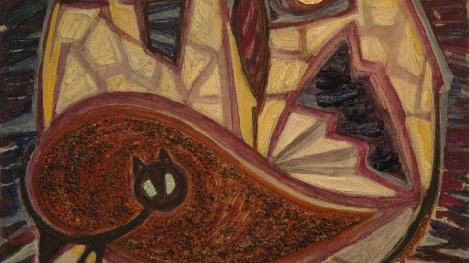Helga Hošková-Weissová: Noční Ein Hod, 1966, kombinovaná technika na plátně, 655 x 810, PD: Hošková 66