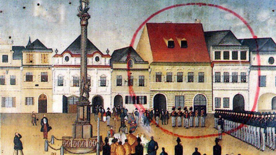 Historický obraz náměstí v Litomyšli zachycující dotčené místo