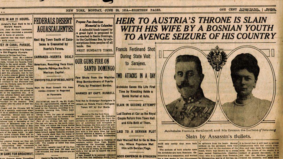 Hlavní zpráva v Timesech 29. 6. 1914