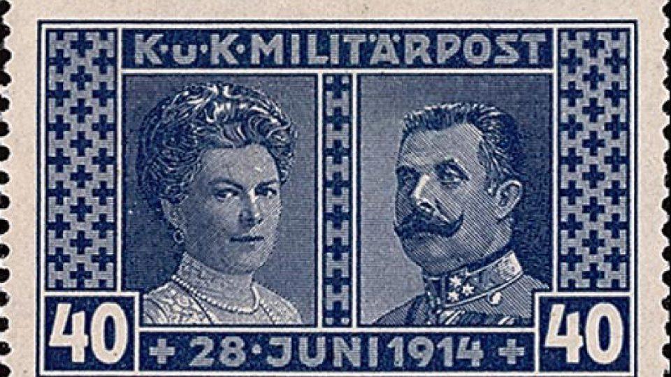 Poštovní známka vydaná na památku Františka Ferdinanda a jeho ženy Žofie (1917)