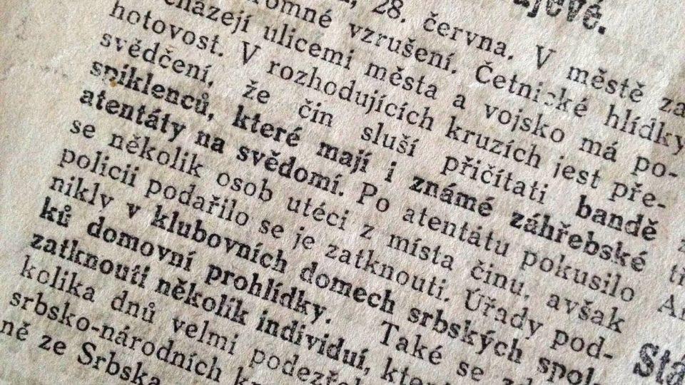 Národní listy ze dne 29. června 1914 - Zatýkání v Sarajevě