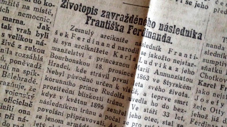 Národní listy ze dne 29. června 1914 - Životopis zavražděného následníka trůnu
