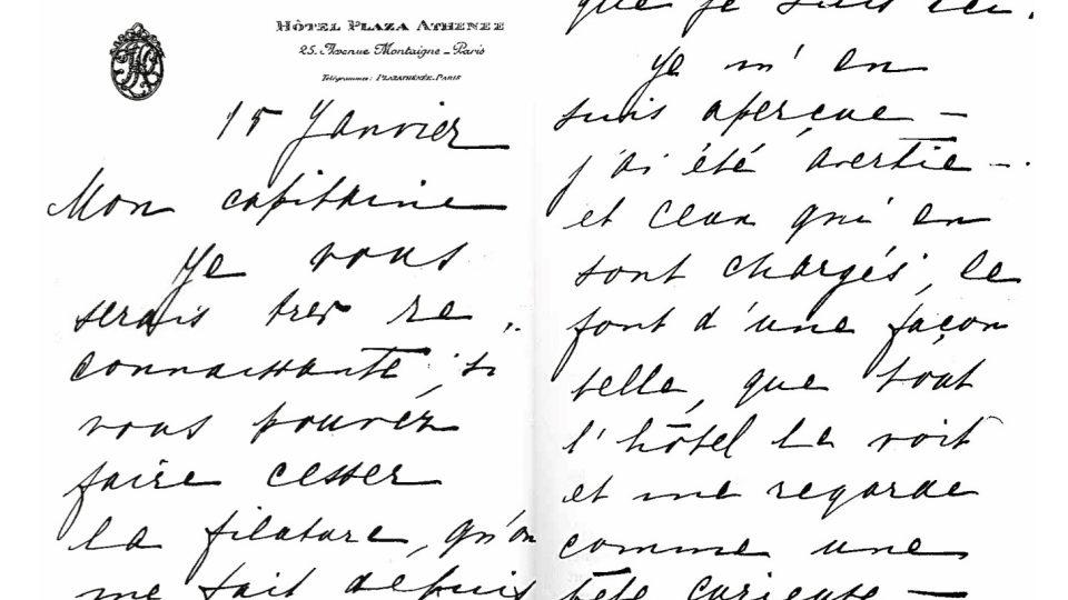 Dopis Mata Hari kapitánu Ladouxovi ze 15. ledna 1917