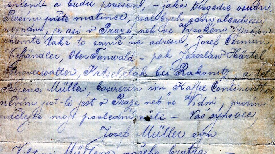 Dopis Josefa Müllera na rozloučenou před popravou, 12. 12. 1914