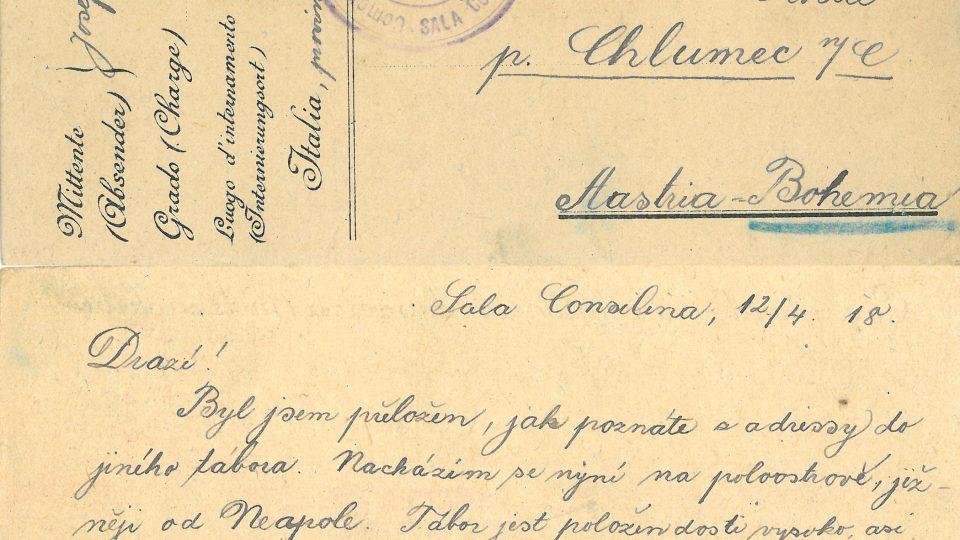 Dopis od Josefa Kožíška z italské fronty (1918)