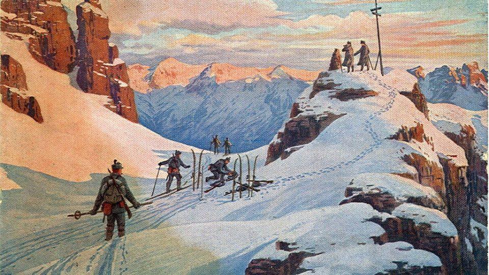 """Italská historická pohlednice z roku 1916 """"Boj za Tyroly - nový den"""""""