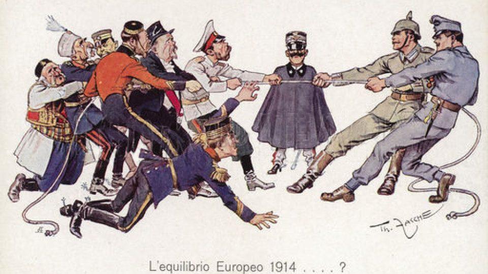 """Satirický obrázek """"Evropská rovnováha"""" v roce 1914"""