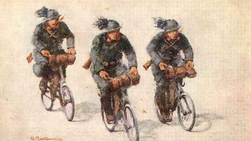 Italští vojáci na bicyklech