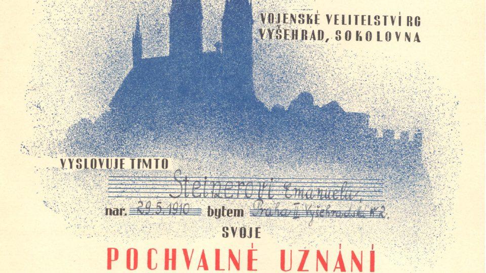 Emanuel Steiner - Pochvalné uznání za revoluční činnost ve dnech 5. - 9. května 1945