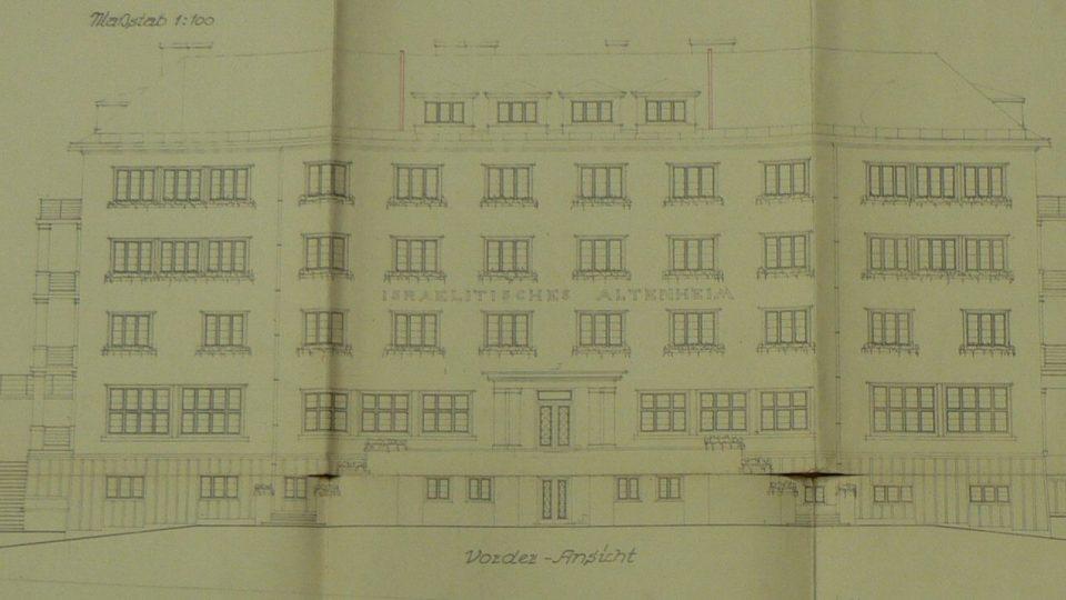Výkres domova důchodců karlovarské židovské obce od Rudolfa Welse
