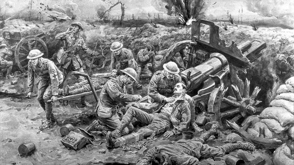 Vojáci Červeného kříže ošetřují zraněné, 1916