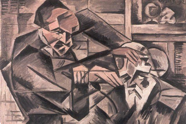 Bohumil Kubišta: Hypnotizér  (olej na plátně,  30, 5 x 58 cm,  1912 - výřez) | foto: Wikimedia Commons,  Public domain,  Bohumil Kubišta